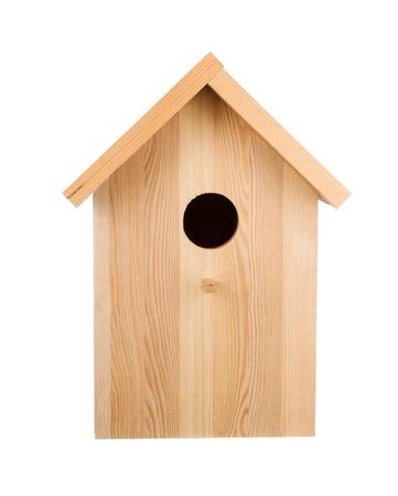 Photo pour Little wood birdhouse isolated on white. Frontal view - image libre de droit