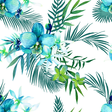 Watercolor seamless pattern of exotic flowers