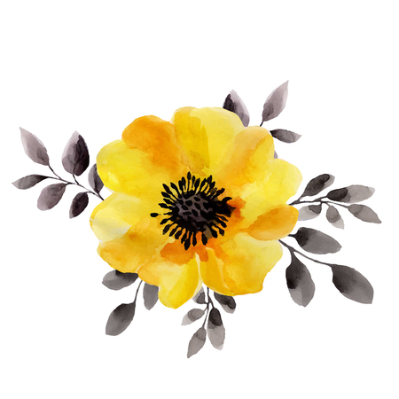 Ilustración de Watercolor illustrations of yellow flower isolated on white background. Background for your design and decor. - Imagen libre de derechos