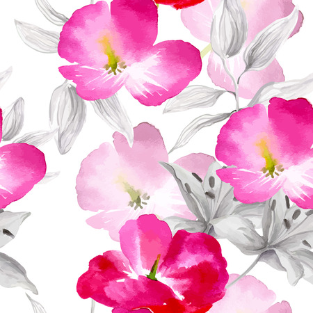 Watercolor flowers seamless pattern. Bright colors watercolor botanical elements