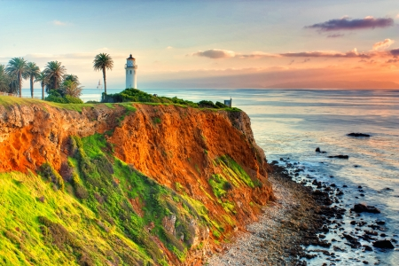 Point Vicente Lighthouse as the sun sets over Catalina Island.