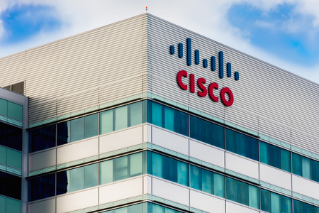SANTA CLARA, CA/USA - MARCH 1, 2014:  Cisco Facility in Silicon Valley. Cisco Systems, Inc. is an American corporation headquartered in San Jose, California that manufactures and sells computer networking equipment.