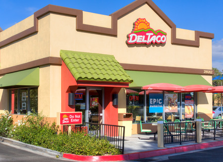 SANTA CLARITA, CA/USA - AUGUST 20, 2014: Del Taco restaurant exterior. Del Taco is an American fast-food restaurant chain which specializes in American-style Mexican cuisine.