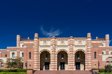 LOS ANGELES, CA/USA - OCTOBER 4, 2014: Kaufman Hall on the campus of UCLA. UCLA is a public research university located in the Westwood neighborhood of Los Angeles, California, United States.