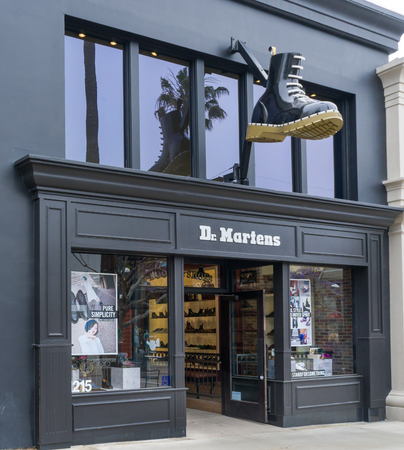 SANTA MONICA, CA/USA - MAY 12, 2016: Dr. Martens retail store exterior and logo. Dr. Martens is a British footwear and clothing brand.