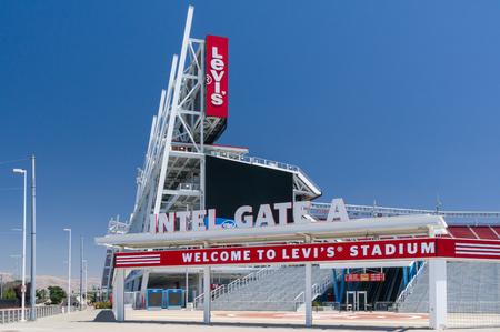 SANTA CLARA, CA/USA - JULY 29, 2017: Levi's Stadium exterior logo and trademark. Levi's Stadium is a football stadium and home of the San Francisco 49ers of the National Football League.