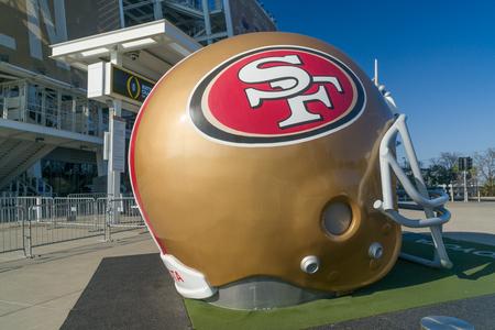 SANTA CLARA, CA/USA - OCTOBER 20, 2018:  San Francisco 49ers life size helmet outside Levi's Stadium.