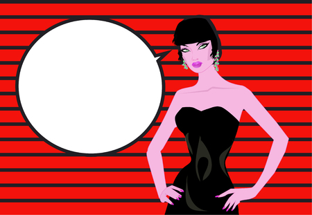 Pop art woman comics background Talking with speech bubble Vintage advertising poster.