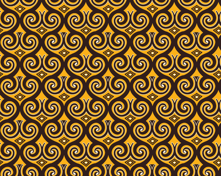 Illustration pour Seamless pattern in Indonesian batik style on the brown background - image libre de droit