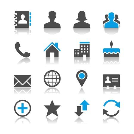 Illustration pour Contact icons - reflection theme - image libre de droit