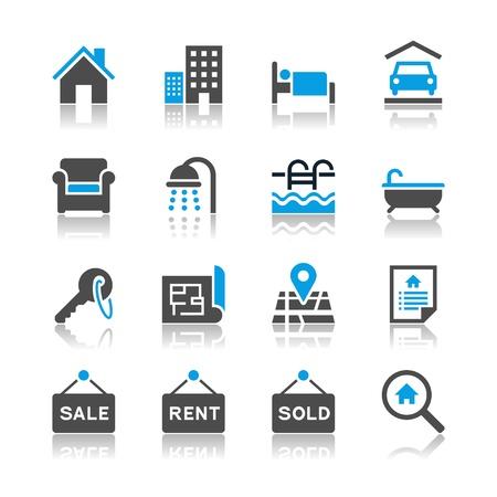 Illustration pour Real estate icons - reflection theme - image libre de droit