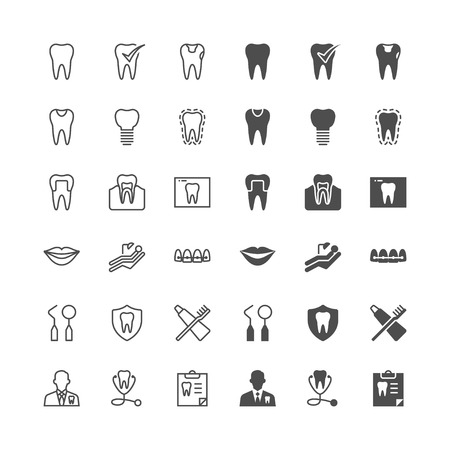 Vektor für Dental icons, included normal and enable state. - Lizenzfreies Bild