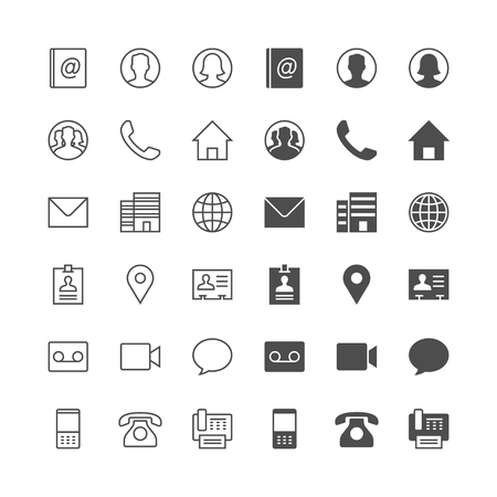 Illustration pour Contact icons, included normal and enable state. - image libre de droit