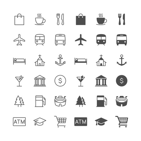 Illustration pour Map and location icons, included normal and enable state. - image libre de droit