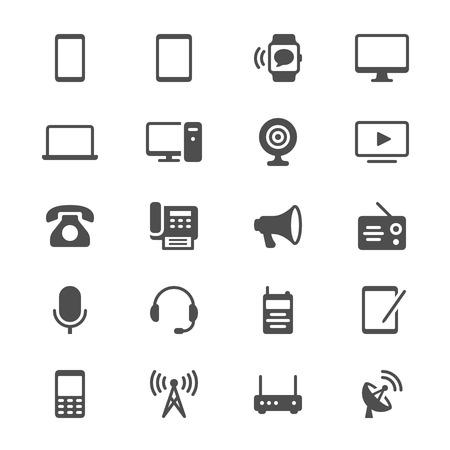 Ilustración de Communication device glyph icons - Imagen libre de derechos