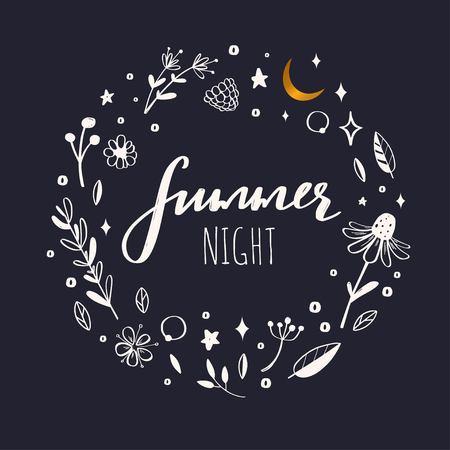 Illustration pour Floral vector wreath, frame. Hand drawn rustic botanical doddle elements. Nature concept Summer night - image libre de droit
