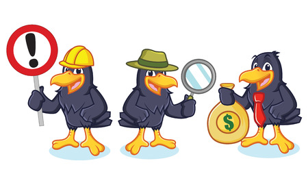 Crow Mascot Vector with sign, detective and business