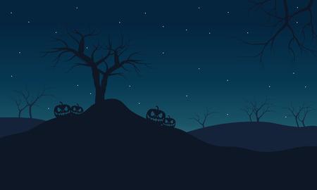Illustration pour Halloween pumpkins at night with star backgrounds - image libre de droit