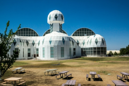 Ultramodern architecture at Biosphere 2 where scientists study the potential for space colonization inside a sealed environment