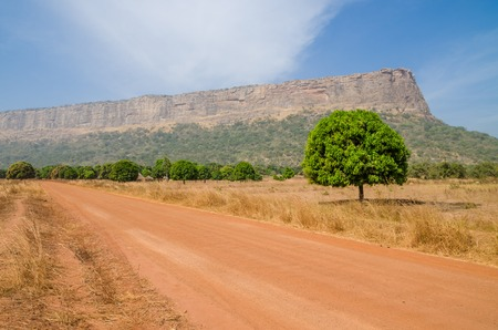 Photo pour Red dirt and gravel road, single trees and large flat topped mountain in Fouta Djalon region, Guinea, West Africa - image libre de droit