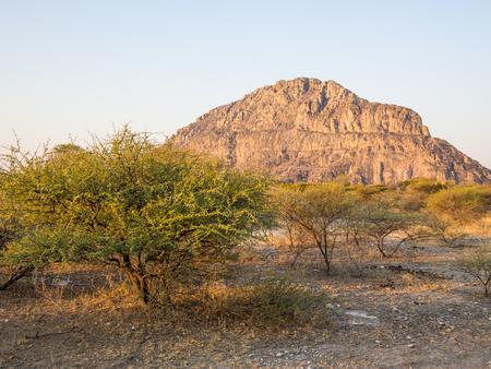 Tsodilo Hills heritage site in the kalahari of Botswana during the golden hour
