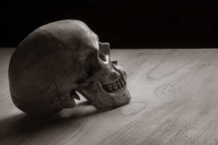 Still life with human skull on wooden table