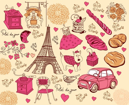 Set symbols of Paris. Hand drawing