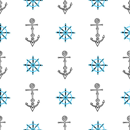 Seamless nautical background with anchors and ship wheels. Hand drawn sea seamless pattern