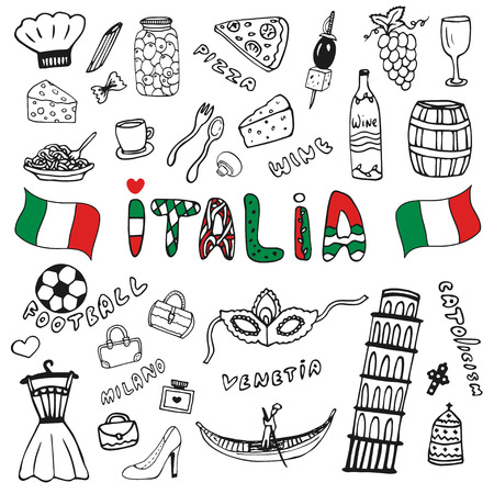Doodle hand drawn collection of Italy icons. Italy culture elements for design. Vector set. Italia lettering in italian language