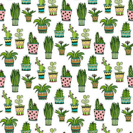 Illustration pour Succulent and cactus seamless pattern. Colorful doodle flowers in pots. Vector background - image libre de droit