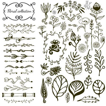 Illustration pour Hand drawn floral big set with wild flowers, leaves, swirls, border. Vector with nature elements collection for design decoration - image libre de droit