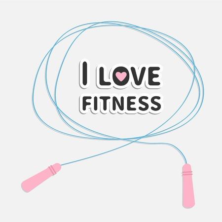 Skipping jumping rope I love fitness Sport background Flat design Vector illustration