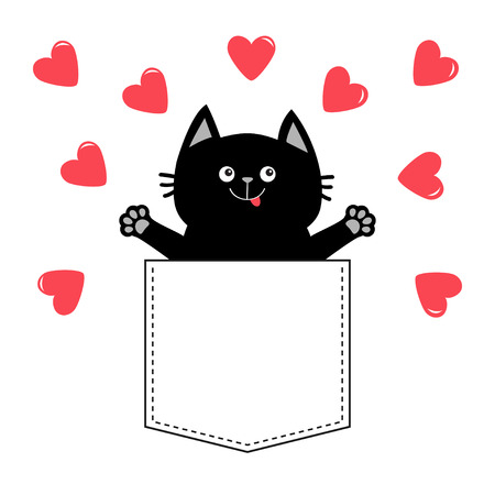 Cat In Pink Pocket Red Heart Love Card Happy Valentines Day Hands Up Give Me A Hug Cute Cartoon Pet Animal Kitten Kitty Character White Background T Shirt Design Baby Collection Flat Vector