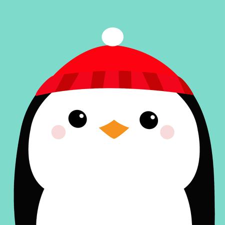 c465729527da4 Penguin head face. Red hat. Merry Christmas. Happy New Year. Cute cartoon