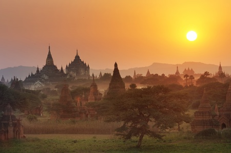 Many temple in Bagan Area at Sunset, Myanmar.