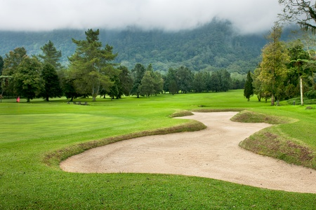 Golf course on the hill at Bali  Indonesia