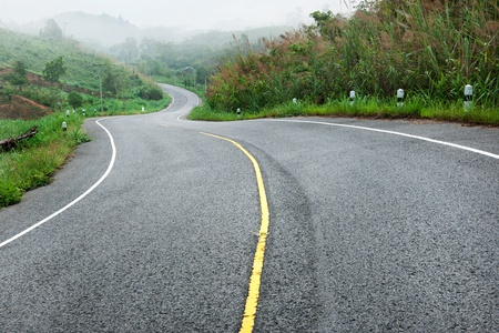 curve s shape road go to hill