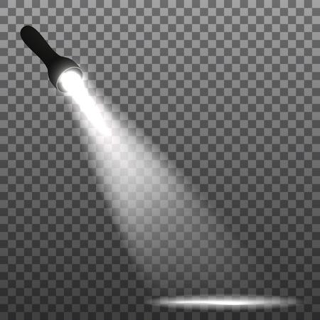 flashlight on a transparent background. Vector illustration.
