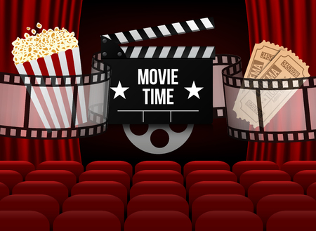 Illustration for Movie theater with row of red seats popcorn and tickets. - Royalty Free Image