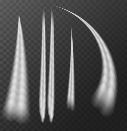 Ilustración de Airplane condensation trail Isolated on transparent background. Vector Illustration - Imagen libre de derechos