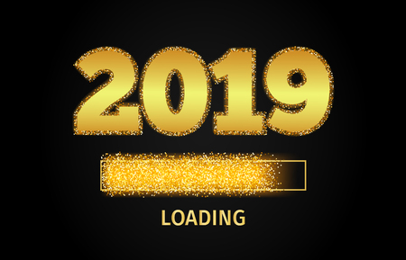 Vektor für 2019 Golden Loading Bar showing progress almost reaching new year. Golden glitter and loading panel on black background. Vector  illustration. - Lizenzfreies Bild
