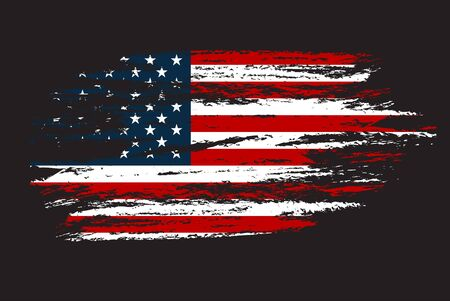 Illustration pour Grunge Flag of the USA. Vector illustration in with grunge texture art. - image libre de droit