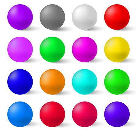 Illustration pour Set of colorful glossy spheres isolated . A Realistic Collection to Create Your Design - image libre de droit