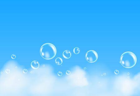 Illustration pour Bath foam isolated on blue background. Shampoo bubbles texture. - image libre de droit