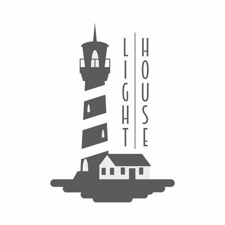 Lighthouse vector logo, badge or label concept. Black and white monochrome illustration