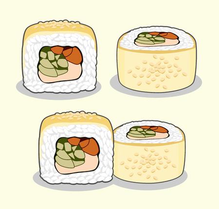 Golden Dragon Uramaki Sushi Roll With Eel Fish Sesame Seeds