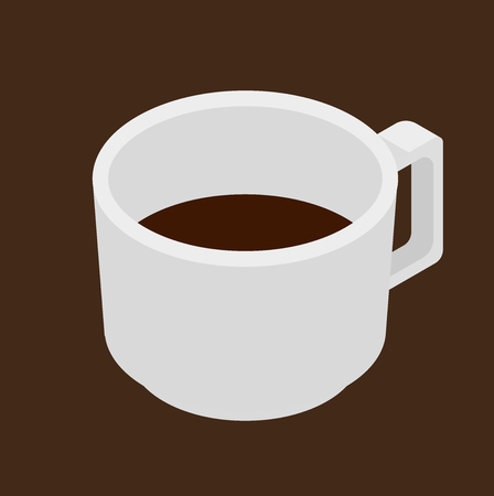 Espresso coffee. White cup vector isometric icon: Royalty