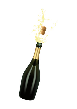 Illustration pour Vector illustration of opened bottle of champagne or sparkling wine with a cork and splash in photo realistic style. A realistic object on a transparent background. - image libre de droit