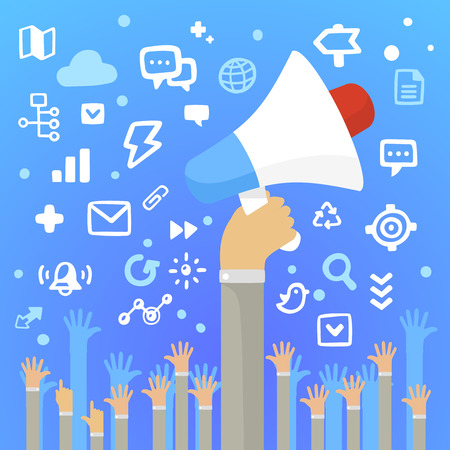 Bright illustration man and holding a large white loudspeaker above a lot of people\'s hands on a blue background with different application icons
