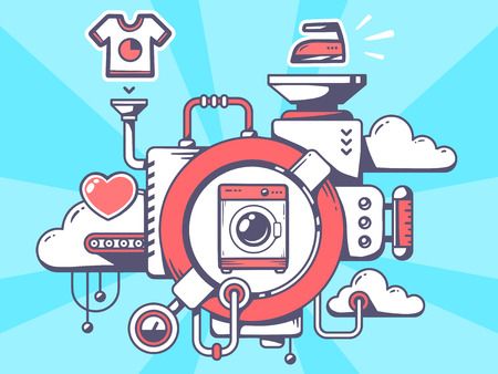 Vector illustration of mechanism with washing machine and relevant icons on blue background. Line art design for web, site, advertising, banner, poster, board and print.